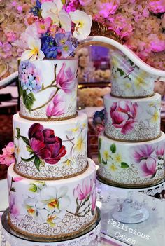 fancy wedding cakes Vibrant Floral Wedding Cake Loved creating this vibrant design for an Asian wedding in London. Three tier rich chocolate cakes, covered in. Bolo Floral, Floral Cake, Floral Wedding Cakes, Wedding Cake Designs, Cake Wedding, Purple Wedding, Gold Wedding, Wedding Flowers, Unique Cakes