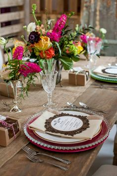 Rustic Chic Wedding Table Setting Details Photography: Christina Esteban Photography / Concept Creation: Zeina Issa Event Planning & Design / Furniture, Decor & Props: Joe's Prop House / Make-up: Charlotte Marie Bridal and Event Makeup / Hair: Nora Ohanessian / Cake: Luisa Galuppo Cakes Dessert & Pies: Rustique / Flowers: Atelier Carmel Sabourin Goldstein / Dresses: Galleria Della Sposa / Jewelry: Trink Jewelry / Invitations: Purplest / Model: Maven Management / Hair Pieces: Beau Belle…