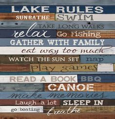 """Channel your inner carefree child with this fun shower curtain. The """"Lake Rules Shower Curtain"""" reminds you what is really important for a relaxing vacation at"""