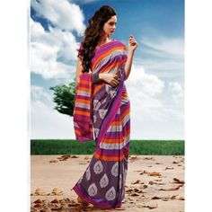 Lovely multi color printeed saree with new stylist look for new genration lady