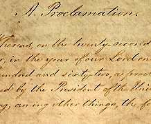 Emancipation Proclamation signed by lincoln, in 1864 and freed slaves