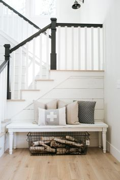Best Photographs Modern Farmhouse staircase Thoughts Country chic living's come a considerable ways since Eva Gabor landed on Green Acres from life in Farmhouse Stairs, Farmhouse Remodel, Farmhouse Style Kitchen, Modern Farmhouse Kitchens, Modern Farmhouse Decor, Farmhouse Ideas, Rustic Farmhouse, Modern Decor, Foyers