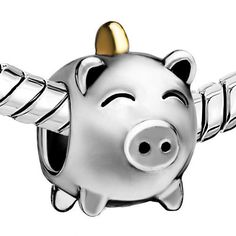 Silver Plated Pig Money Bank Bead for Charm Bracelets