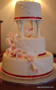 Wedding Cakes 3 Tier Fondant Pillars Cascading Lace And Lillie
