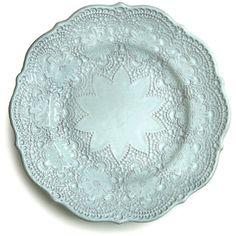 Arte Italica Merletto Aqua Salad Plate ($40) ❤ liked on Polyvore featuring home, kitchen & dining, dinnerware, dishes, ceramic dessert plates, arte italica dishes, handmade ceramic dinnerware, floral dishes and ceramic dishes