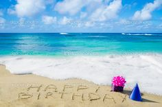 ocean pic birthday wishes for facebook   Sign Happy Birthday on the sandy beach — Stock Photo © EllenSmile ...
