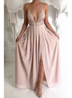 Beautiful pink chiffon prom dress with slit, prom dresses long