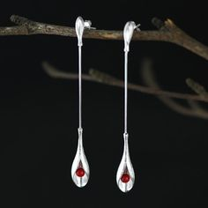 Silver Dangle Earrings925 Sterling Silver Dangle Earrings Precious Coral Long Earrings For Women Fine Jewelry Gift
