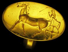 Mycenaean Gold ring dated BC part of the Aidonia Treasure Ancient Egyptian Art, Ancient Greece, Minoan Art, Mycenaean, Creta, Antique Coins, Ancient Jewelry, Ancient Artifacts, Bronze Age