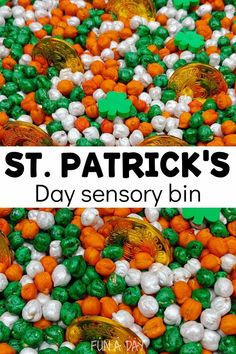 Dyed chickpeas and fun additions make a gorgeous St. Patrick's Day sensory bin! Kids can't keep their hands out of this fun themed sensory exploration. Sensory Bottles, Sensory Bins, Sensory Play, Early Learning Activities, Preschool Activities, Liquid Watercolor, Magnetic Letters, Preschool Lesson Plans, Pot Of Gold