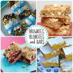 Brownies, Blondies and Bars---- Whether it's chocolate, vanilla or fruit-flavord, we have your favorite on this list.