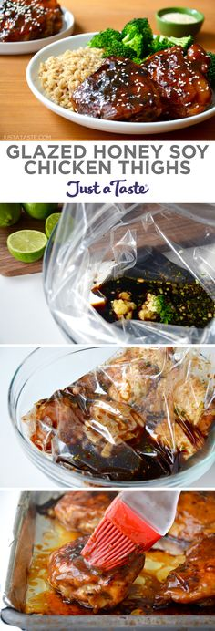 Glazed Honey Soy Chicken Thighs recipe from justataste.com #recipe #chickendinner #chicken