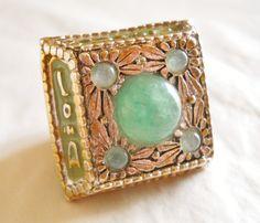 Christian Dior Massive Jade Ring Vintage Gold by LakeBreezes, $46.50