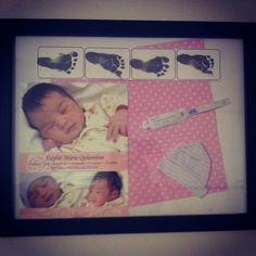 Baby keepsake memorbilia! I used cheap frame, scrapbook paper, baby picture and info with dob, beanie from hospital, footprints, and wrist band from hospital. You can add any other keepsake, its a beautiful way to save those special little things and to show them off(:
