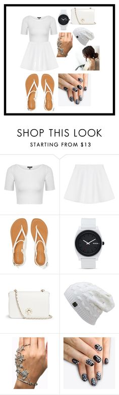 """""""white in white"""" by ghinasalsabilahp ❤ liked on Polyvore featuring Topshop, RED Valentino, Aéropostale, Nixon, Tory Burch, alfa.K, women's clothing, women, female and woman"""