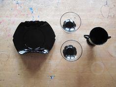 $65 - Black Amethyst Glass Dessert Set by L.E. Smith #midcentury #retro