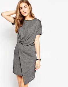 Image 1 ofASOS T-Shirt Dress With Drape Front
