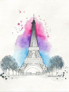 Original Eiffel Tower Watercolor painting by NiksPaintGallery