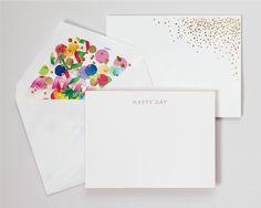 Party invites: metallic glitter dots & white notecard (not the envelope liner). Could do this with simple spray adhesive! Unique Invitations, Invitation Paper, Stationery Paper, Invites, Wedding Invitation, Envelope Design, Diy Envelope, Branding, Paper Crafts