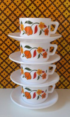 60s 70s Vintage Retro Kitsch Arcopal Orange Floral Pyrex Cups & Saucers Mugs make picture into a geek,granny chic kitsch art print in retro 70's contemporary kitchen