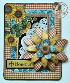 Love this French Country ATC from Susan! Love how she used the cardstock flowers! #Graphic45 #ATC