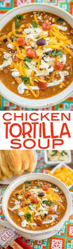 Chicken Tortilla Soup - the secret ingredient makes all the difference!! Ready in about 15 minutes. Can also make this in the slow cooker. Freeze leftovers for a quick lunch or dinner later!! Rotisserie chicken, refried beans, black beans, diced tomatoes