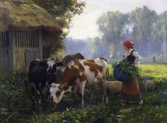 Farm Lady Cattle Lamb Sheep Farm Barn by Julien Dupre Farm Paintings, Animal Paintings, Oil Painting For Sale, Oil Painting On Canvas, Pinterest Pinturas, Barbizon School, Munier, Scenery Pictures, Farm Art