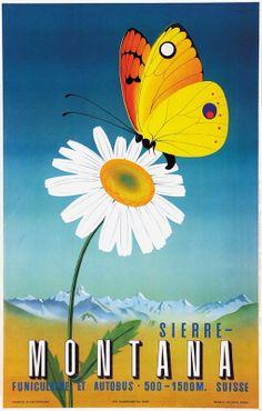 Vintage Travel Poster - Sierre Montana - Switzerland - by Roland Kocher.