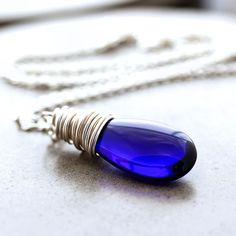 Cobalt Blue Glass Teardrop Sterling Silver Necklace Women's Jewelry - Riesling. $36.00, via Etsy.