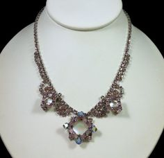 Vintage JAY FLEX STERLING Lavender Rhinestone Necklace w/ Mother of Pearl Accent $148.00 SOLD