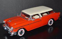 Maisto 1/18 Die Cast Car 1955 Chevrolet Nomad Red, cream #Maisto #Chevrolet