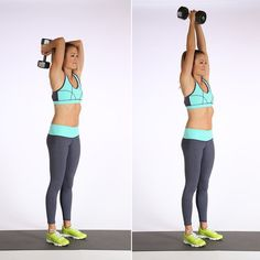 Here's a move you probably know and love that'll target the backs of the arms.   Stand with your feet hip distance apart.  Hold one dumbbell (go for your heavier weight) with both hands, bending the elbows behind your head. Straighten your arms to lift the dumbbell into the air, then slowly bend the arms to lower. This counts as one rep. Complete two to three sets of 10 to 12 reps.  Source: POPSUGAR Studios
