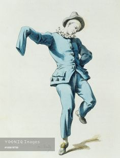 Peppe o Beppe Nappa in 1770, illustrated by Maurice Sand (1823-1889), engraving from the Commedia dell'Arte study entitled Masques et bouffons, comedie italienne, Paris, 1860. France, 19th century.