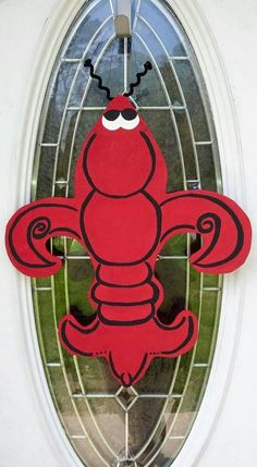 Crawfish Fleur De Lis Door Hanger