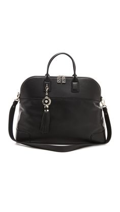 Versace Black Satchel  This sophisticated black handbag from Versace is polished and classic. Shiny hardware accentuates the sleek design, and a logo-emblazoned fringe detail adds a luxe touch at the front. Metal feet protect the underside of the bag, and the main zip opens to a lined interior with three pockets. Double handles and detachable shoulder strap. Dust bag included.  Leather: Calfskin.  Made in Italy.  MEASUREMENTS  Height: 13in / 33cm  Length: 17in / 43cm  Depth: 6in / 15cm