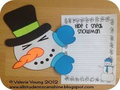 Hide & Sneak Snowman Craft and Activities