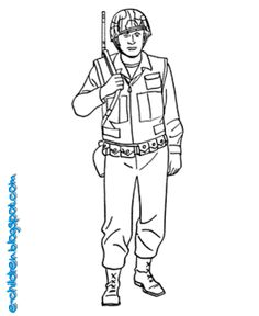Armed Forces Day Coloring Pages - US Army Soldier - World War II coloring sheets. Soldier Drawing, Army Drawing, Back Drawing, Boy Coloring, Coloring Sheets, Colouring, Veterans Day Coloring Page, Mighty Power Rangers, Army Colors