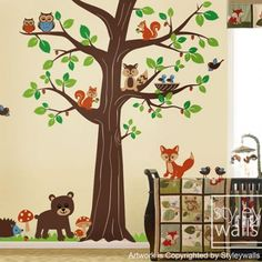 Woodland Forest Animal Friends Huge Tree Nursery Vinyl Wall Decal Set