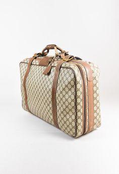 Gucci Vintage Brown Monogram Canvas & Leather Handheld Luggage - 3