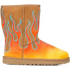 Jeremy Scott UGG x Jeremy Scott flame boots ($395) ❤ liked on Polyvore featuring shoes, boots, brown, jeremy scott boots, jeremy scott shoes, jeremy scott, brown shoes and brown boots