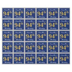Elegant Blue Faux Gold 94th Birthday  Name Wrapping Paper  $19.95  by AponxDesigns  - cyo customize personalize unique diy idea