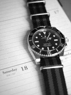 Submariner with black grey nato strap