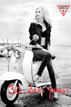 Claudia Schiffer in the new Guess Campaign.  She has not aged at all from 1989 (she was just 19 then..)