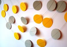 Paper Circle GARLAND  Garden decor  Yellow garland  by Needlejob, $6.50