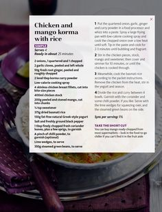 Chicken and mango korma with rice. Slimming World magazine July 2015.