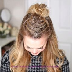 Triple French Braid Double Waterfall Mini Bun 🎥 the hottest prom hairstyles to complete your big-night look 💕✨ prom hair, wedding hairstyle, braided hairstyle. By: # double waterfall B Pretty Braided Hairstyles, Braided Hairstyles Tutorials, Cute Hairstyles, Wedding Hairstyles, Braid Hairstyles, School Hairstyles, Halloween Hairstyles, Braided Updo, Natural Hairstyles
