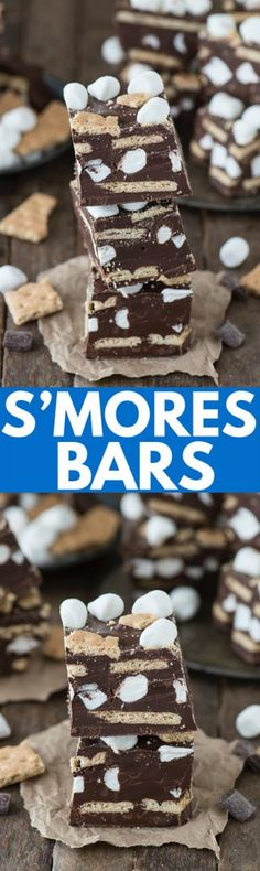 Everything you love about s'mores turned into chocolate s'mores bars! Layers of chocolate, graham crackers and marshmallows, it's like a layered s'mores bar!