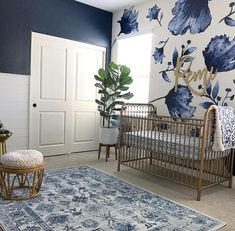 My Top Posts & Favorite Nursery Trends of 2018 2019 This navy nursery is gorgeous with that floral wallpaper and brass / gold accents. The post My Top Posts & Favorite Nursery Trends of 2018 2019 appeared first on Nursery Diy. Baby Bedroom, Baby Room Decor, Girls Bedroom, Baby Room Colors, Baby Bedding, Boy Nursery Colors, Baby Room Diy, Kid Bedrooms, Trendy Bedroom