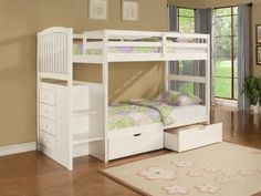 Tips on Choosing Cool Bunk Beds for Teens: Drop Dead Gorgeous Furniture Teens Bedroom White Twin Full Girls Bunk Bed With Flower Pattern Rug Fabulous Bunk Beds For Teens Ideas ~ workdon.com Teen Room Designs Inspiration