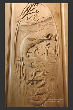 "Title: Walleye pickerel carved door  Hand carved with chisels and clear stained.  Material: Alder  Size: W x H x D: 32"" x 80"" x 1.75""         : 81cm x 203cm x 4.5cm"